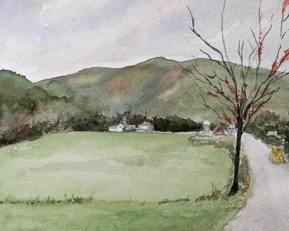 Road Work Watercolor, 8x10