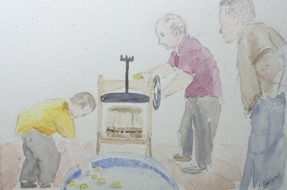 The Cider Press watercolor 5x7