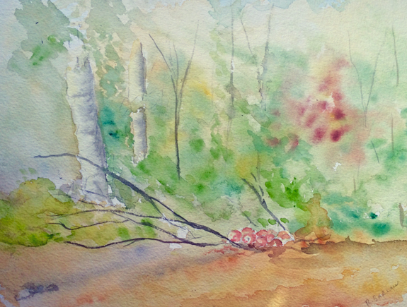 Good Year for Deer, Watercolor 9x12