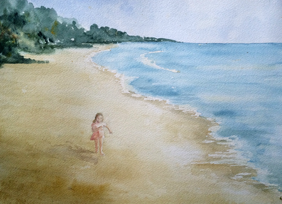 Wave Runner, Watercolor 12x16, Matted to 16x20